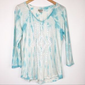Lucky Brand Tie Dye Boho Aztec Top Size Large